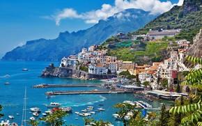 Картинка море, гора, дома, яхты, Италия, Амальфи