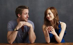 Картинка взгляд, девушка, улыбка, пара, мужчина, Emma Stone, Эмма Стоун, Ryan Gosling