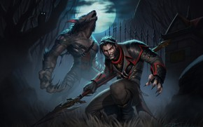 Картинка ночь, monster, wolf, werewolf, smite, cu chulainn, The Beast Within