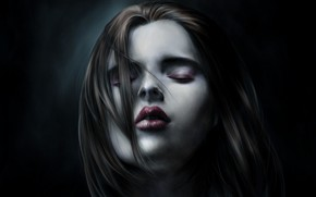 Картинка девушка, лицо, тьма