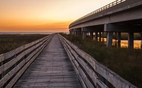 Картинка небо, берег, мосты