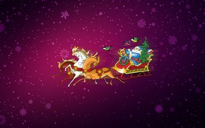Картинка Минимализм, Снег, Рождество, Снежинки, Фон, Новый год, Лошади, Кони, Праздник, Арт, Дед Мороз, Christmas, Art, ...
