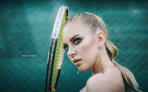 Картинка взгляд, девушка, лицо, фон, портрет, макияж, ракетка, теннис, Антон Харисов, Katrin Саркази