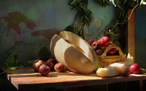 Картинка корзина, яблоки, натюрморт, дыня