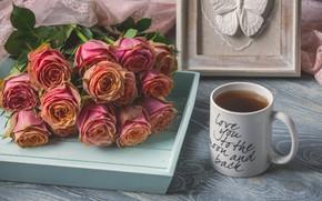 Картинка розы, букет, чашка, поднос