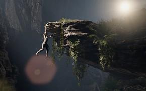 Картинка Девушка, Обрыв, Скалы, Square Enix, Lara Croft, Висит, Ледоруб, Shadow of the Tomb Raider
