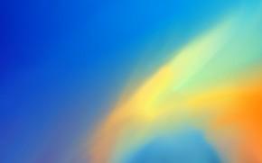 Картинка Абстрактный фон, Контрастные цвета, Сине-желтый фон, Желтые разводы, Желтый на синем
