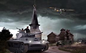 Обои Церковь, танк, самолёт, Немецкий, Средний, Танкисты, Fieseler, Pz.III, Fi.156, Volkswagen Typ 82, Грозовые облака