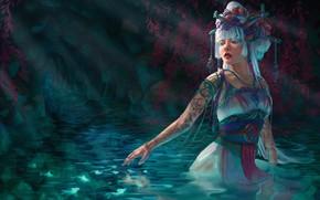 Картинка девушка, рыбки, озеро, нимфа