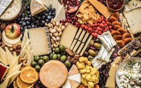 Картинка апельсин, сыр, орехи, оливки, миндаль, гранат, голубика, ассорти, курага, кешью