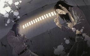 Картинка камера, сигарета, пятна, бандиты, наемники, злобный взгляд, гангстеры, видеонаблюдение, заключённые, by Yuusuke Kozaki, Kyoko Karasuma …