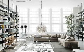 Картинка дизайн, стиль, интерьер, библиотека, гостиная