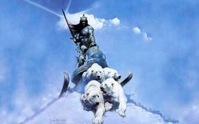 Картинка Снег, Воин, Белые медведи, Сани, Frank Frazetta