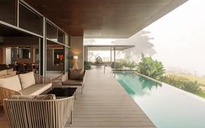 Картинка интерьер, бассейн, терраса, гостиная, столовая, Home on the Hill, by Arun Nalapat Architects