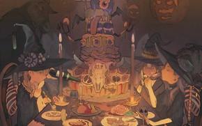 Картинка тыквы, торт, Хеллоуин, halloween, собрание, в темноте, шляпа ведьмы, ведьмочки, за столом, череп животного, бутылка …