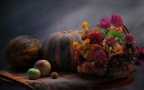 Картинка цветы, корзина, яблоки, плоды, тыквы, фрукты, натюрморт, овощи, столик, салфетка, Ковалёва Светлана