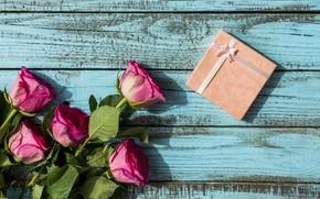 Картинка день рождения, подарок, букет, wood, pink, roses