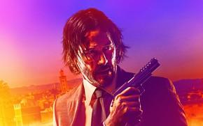 Картинка пистолет, фон, портрет, костюм, боевик, постер, Киану Ривз, Keanu Reeves, John Wick, John Wick: Chapter …