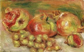 Картинка картина, натюрморт, Пьер Огюст Ренуар, Pierre Auguste Renoir, Гранаты и Виноград