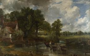 Картинка пейзаж, картина, повозка, John Constable, The Hay Wain, Джон Констебл