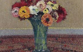 Картинка цветы, букет, картина, ваза, Анемоны, Анри-Жан Гильом Мартин, Henri Matrin