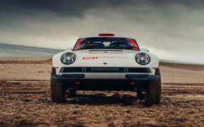 Картинка песок, пляж, защита, 911, Porsche, вид спереди, 964, AWD, Singer, twin turbo, 2020, 2021, Singer …