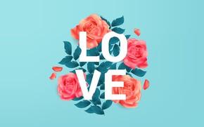 Картинка фон, голубой, надпись, Love, текстура, background, roses