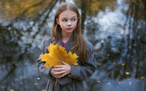 Картинка осень, лист, девочка