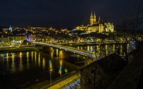 Картинка ночь, мост, город, огни, река, замок, вид, дома, Германия, панорама, крепость, иллюминация, Мейсен, Альбрехтсбург