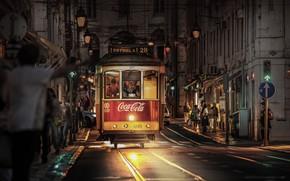 Картинка город, улица, дома, вечер, фонари, трамвай, Португалия, Лиссабон
