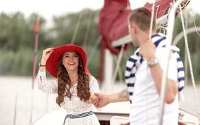 Картинка девушка, любовь, отдых, яхта, пара, шляпка, парень, прогулка