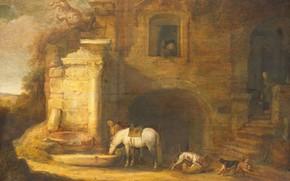 Картинка масло, картина, Simon de Vlieger, Симон де Влигер, Возвращение сокольничьего домой, 1637