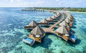 Картинка тропики, океан, курорт, лагуна, бунгала