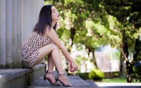 Картинка девушка, улица, азиатка