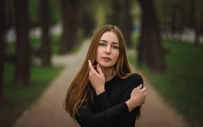 Картинка взгляд, девушка, парк, волосы, милашка, боке, Kate, Dmitry Medved