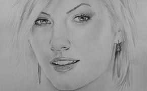 Картинка девушка, лицо, рисунок, Elisha Cuthbert