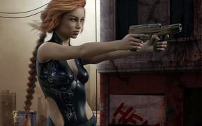 Картинка девушка, оружие, пистолеты
