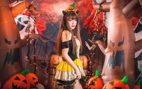 Картинка девушка, тыквы, Хэллоуин, азиатка, 31 октября