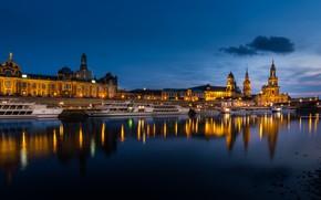 Картинка огни, река, вечер, Германия, Дрезден
