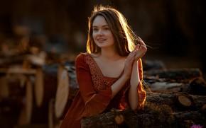 Картинка взгляд, девушка, свет, поза, улыбка, шатенка, красивая, Оксана, Евгений MWL Photo