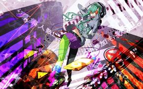 Картинка девушка, фон, краски, кляксы, Kagerou Project