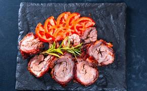 Картинка фото, мясо, помидоры