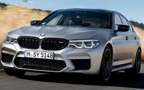 Картинка поле, небо, трава, асфальт, серый, тень, BMW, седан, 4x4, 2018, четырёхдверный, M5, V8, F90, M5 ...