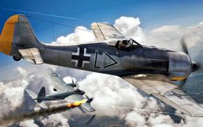 Картинка RAF, Luftwaffe, Fw-190, Mosquito, Jagdgeschwader 26, Stab./JG26, Fw.190A-2, Erwin Leibold
