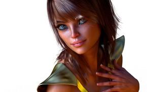 Картинка взгляд, девушка, рука, маникюр, чёлка, 3д графика
