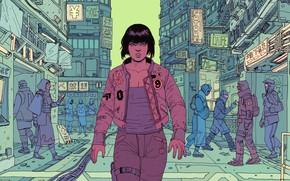Картинка Девушка, Рисунок, Город, Girl, Japan, Fantasy, Ghost, Арт, Art, Призрак в доспехах, Robots, Фантастика, Ghost …