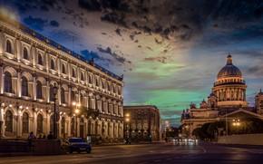 Картинка ночь, город, здания, Питер, освещение, Санкт-Петербург, Исакиевский собор