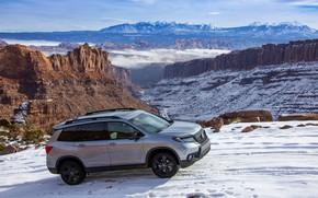 Картинка снег, Honda, горная дорога, 2019, Passport