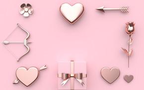 Картинка фон, розовый, подарок, роза, сердечки