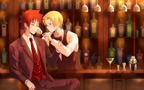 Картинка вино, бокал, бутылки, парни, В поисках божественного рецепта, Shokugeki No Soma